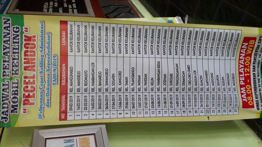Jadwal Pelayanan Mobil Keliling DISPENDUKCAPIL Kota Madiun ke Kelurahan Kartoharjo
